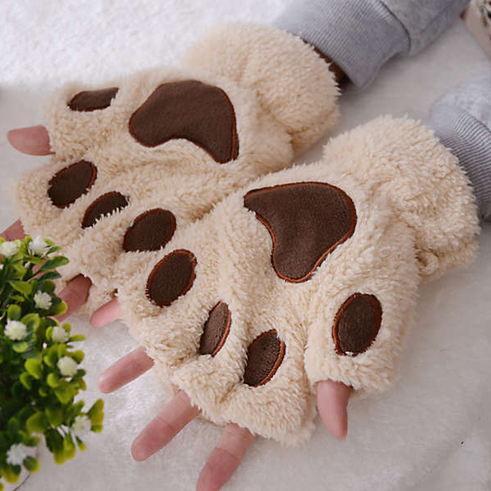 1Pair Warm Gloves Women Girls Lovely Winter Glove Fingerless Fluffy Bear Cat Paw Half Finger Gloves New Girls Mitten #L20