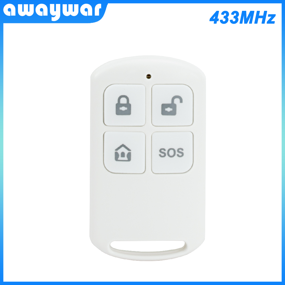 Awaywar Wireless Remote Control High-Performance Portable 4 Buttons Keychain For WIFI GSM Home Security Alarm System 433MHz