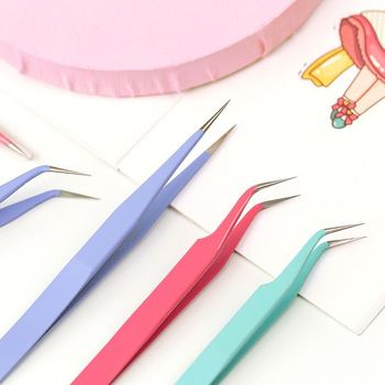 Candy Color Stainless Steel Tweezers Macaron Tape Sticker Tool Journal Gadgets Simple Practical Portable