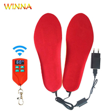 Unisex 2000mAh Electric Heating Insoles Foot Warmer with Wireless LCD Remote Control Heated Insoles for Skiing Hiking Camping