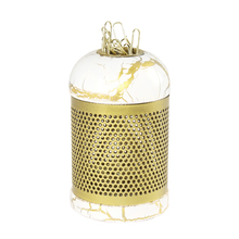 Vintage white stone pattern gold classical round paper clip storage box office supplies