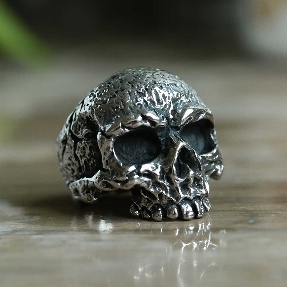 Unikalne fajna ze stali nierdzewnej ciężkich cukru Gothic Punk czaszka pierścień kryształ cyrkon oczu męskie Mandala kwiat Santa Muerte Biker biżuteria