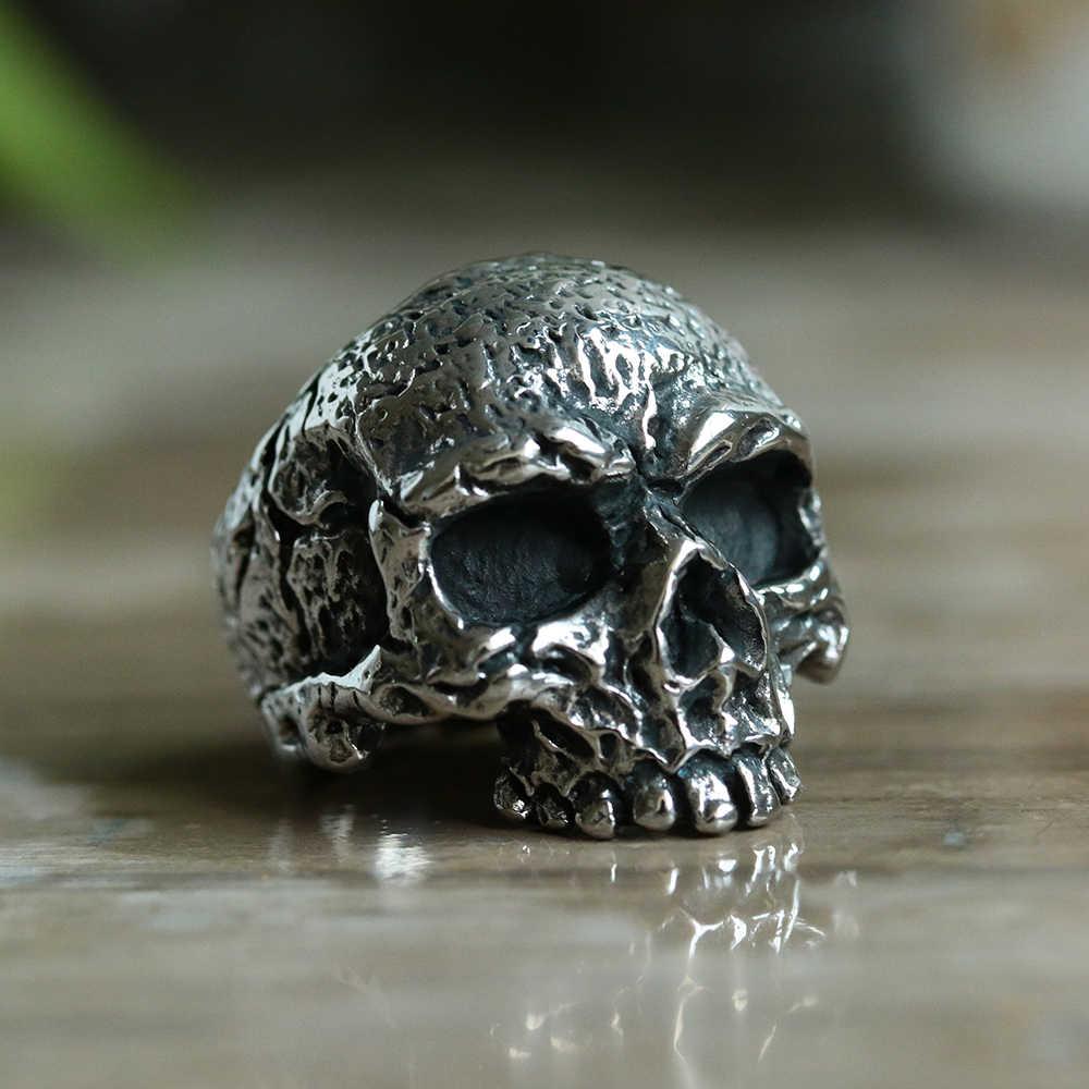 Único fresco Acero inoxidable pesado azúcar cráneo gótico punk anillo cristal zirconia ojo hombres Mandala flor Santa Muerte Biker joyería