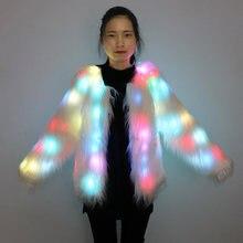 Новое светодиодное пальто для женщин искусственный мех светильник