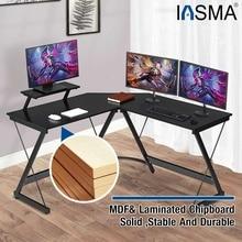L-Shaped Computer Desk Office Home Corner Desk Modern Work Study Table Universal Laptop Stand Furniture MDF 130x130x75cm