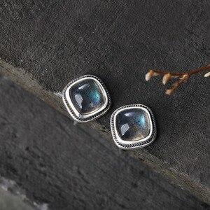 Женские серебряные серьги с натуральным лабрадоритом, подарочные серьги-гвоздики из серебра 925 пробы, элегантные ювелирные украшения