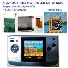 Super osd versão grande tela ips lcd para ngpc backlight lcd para neogeo bolso cor game console
