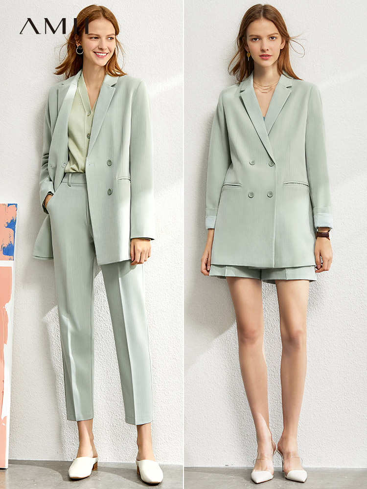 Amii Minimalism Suit Set Women 2020 Spring New Solid  Suits &blazer , Suit Vest , High Waist Suit Pants Suit For Women 12060909