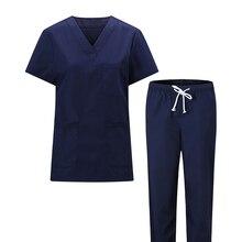 Plug Size S-3XL Pure Cotton Men Medical Uniforms V Neck Scrub Top and Pants Elastic Waist Drawstring Hospital Work Clothes Men