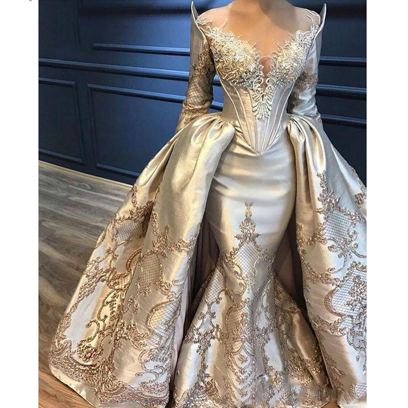 <font><b>Mermaid</b></font> Overskirts Prom <font><b>Dresses</b></font> Long Sleeve Lace Appliqued Beads Evening <font><b>Dress</b></font> With Detachable Train Abiye Arabic Party Gowns image