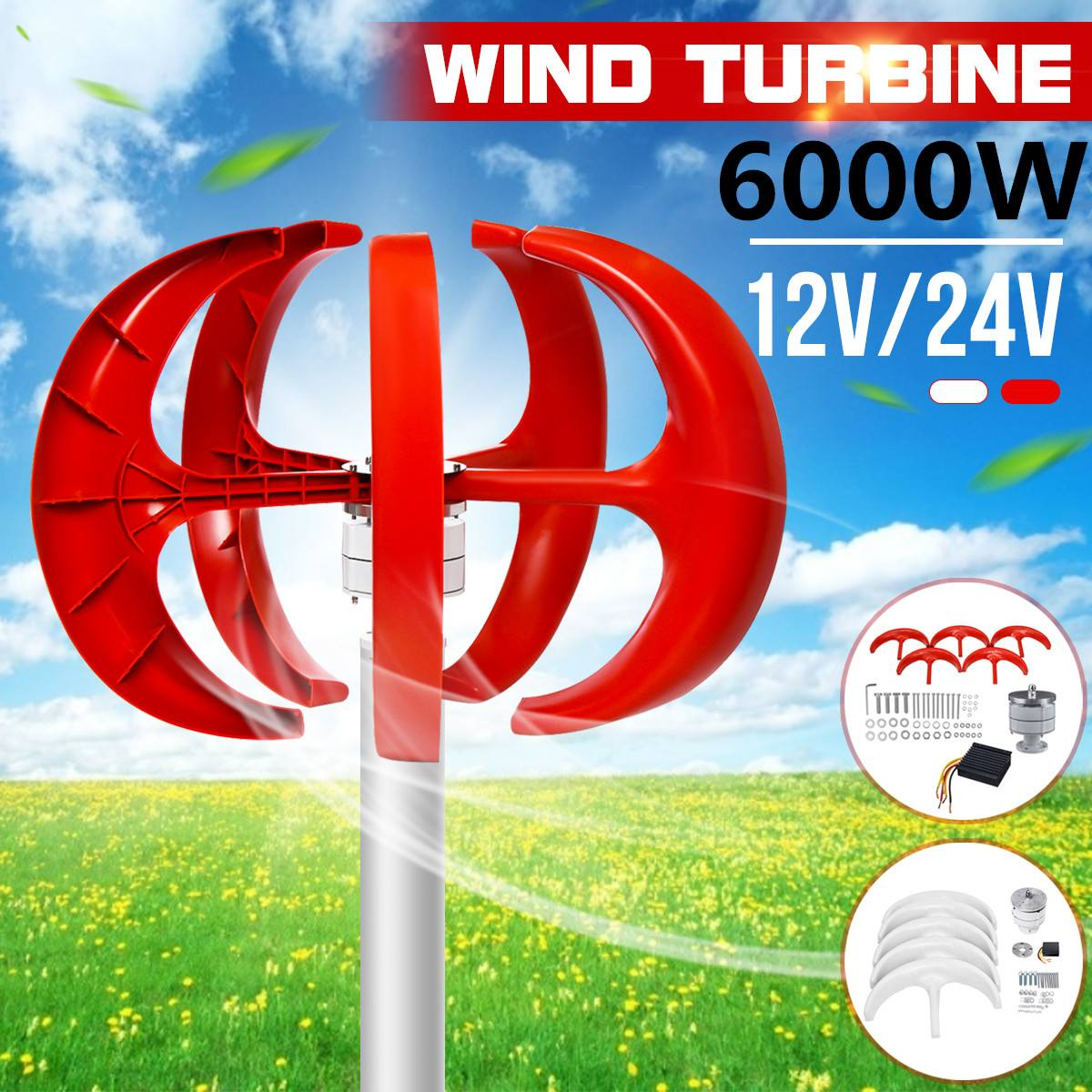 Wind Turbines Generator 6000W+Controller 5 Blades 12V 24V Lantern Vertical Axis Permanent Magnet Generator for Home Streetlight
