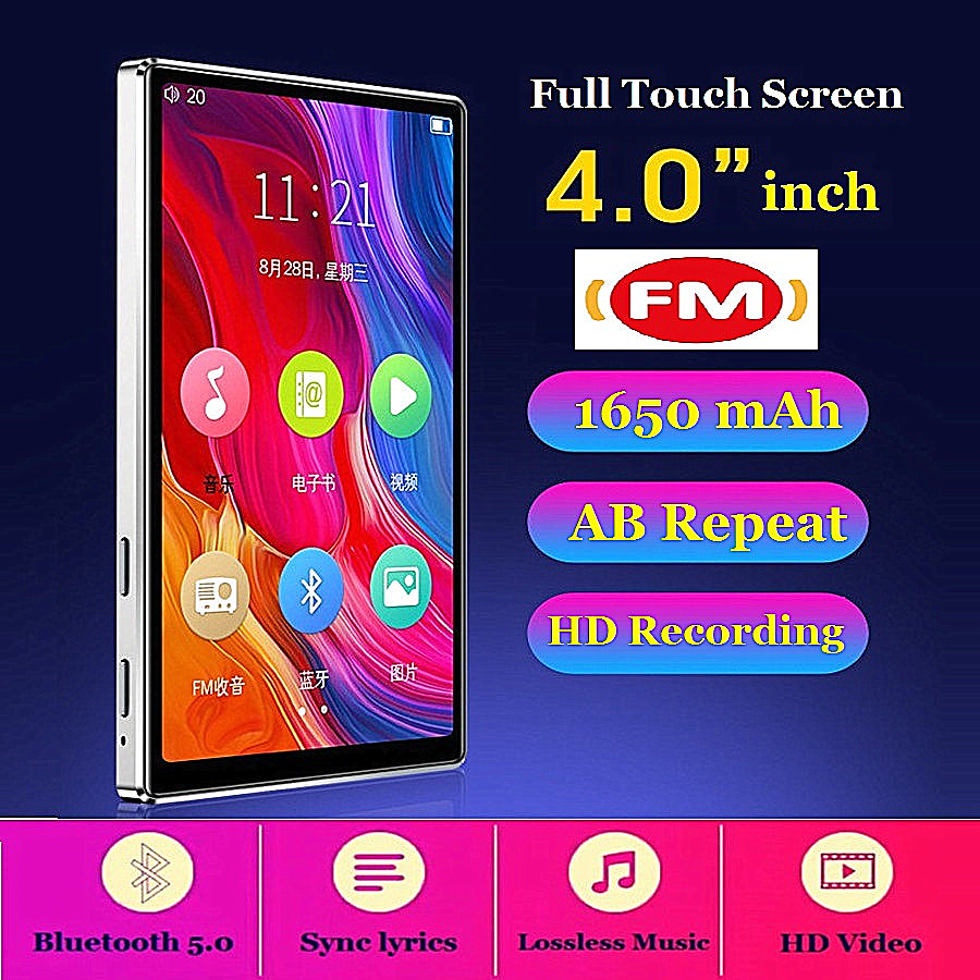 MP4 Player Bluetooth 5.0 Full Touch Screen HD HIFI FM Radio Music 8GB 4 inches MP4 MP5 Player Support VideoTF Card With Speaker