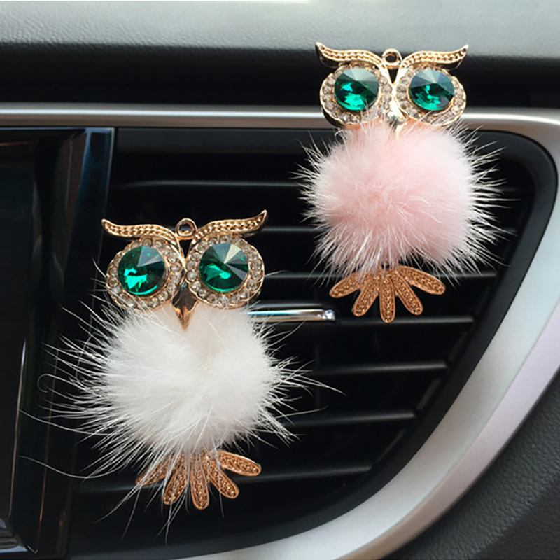 Diamond Fur Owl Car Air Freshener Auto Outlet Perfume Clip Scent Aroma Car Diffuser Bling Car Accessories Decor Ornaments Gifts