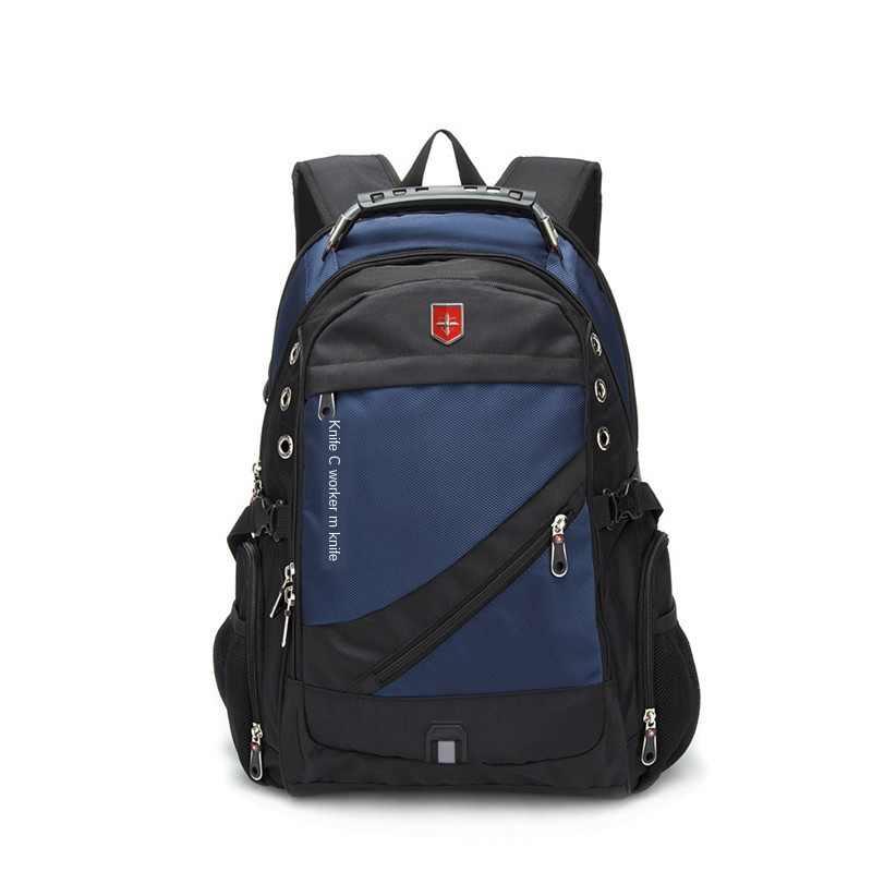 Oxford Schweizer 17 Zoll Laptop Rucksack Männer USB Lade Wasserdichte Reise Rucksack Frauen Rucksack Männlichen Vintage Schule Tasche mochila