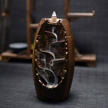 2 Color Backflow Incense Burner Ceramic Aromatherapy Furnace Lotus Smell Aromatic Home Office Waterfall Incense Holder недорого