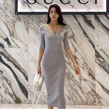 Женское трикотажное облегающее платье до колен офисное хлопковое