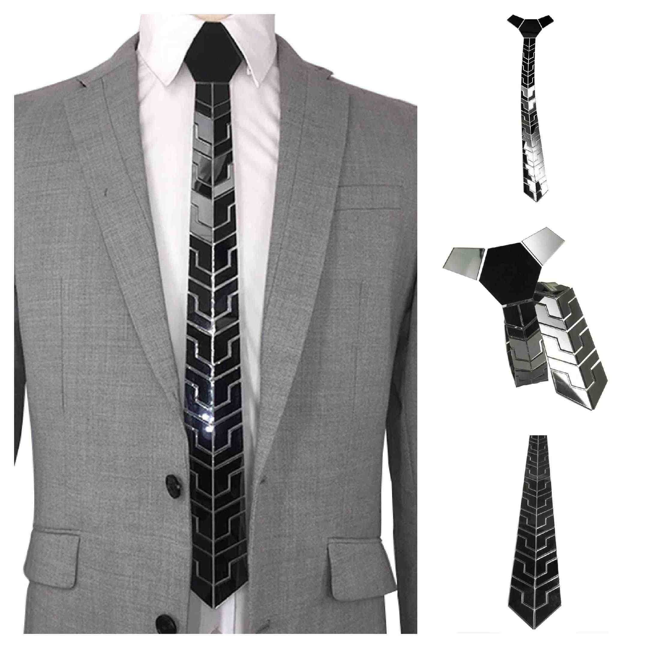 New Arrival Black Mirror Slim Necktie with Classy Plaid Pattern Unique Shining Ties Mirror Finishing Vintage Style Hextie Gift
