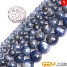 Piedra redonda Natural cianita azul perlas para joyería haciendo Strand 15