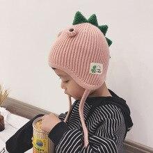 Doitbest/Детские шапки для девочек от 2 до 6 лет зимняя детская вязаная шапка с рисунком динозавра детские шапки с ушками для девочек