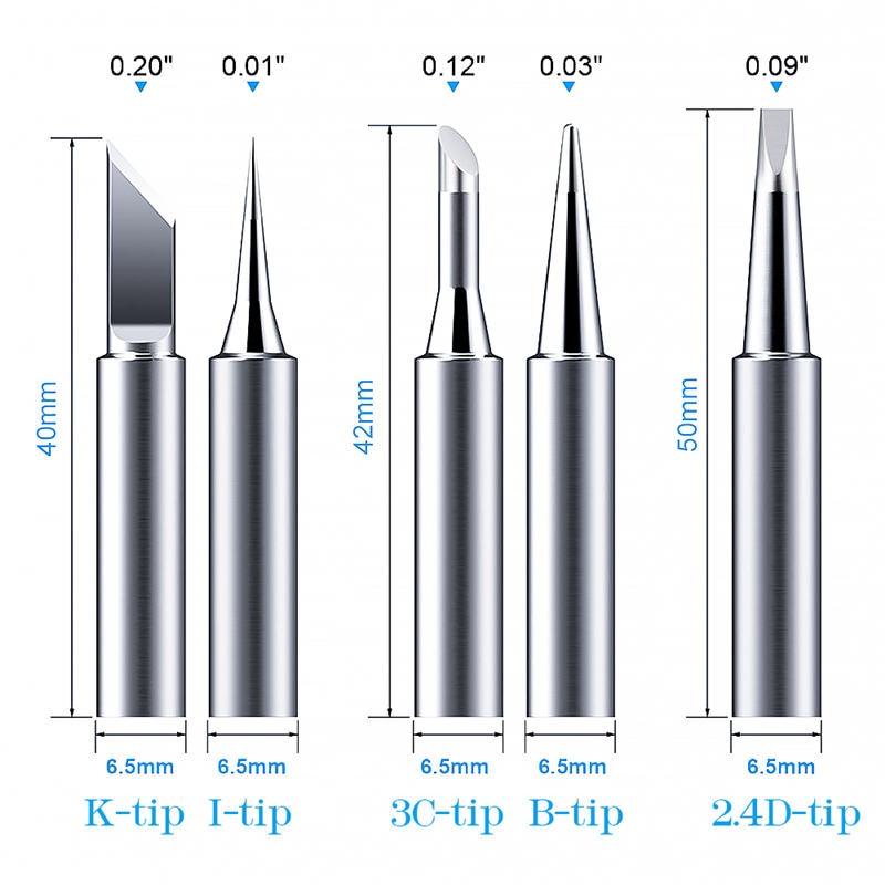 5pcs/set 900M-T Metal Soldering Iron Tips For Soldering Iron Parts Solder Screwdriver Weller 42mm Replacement Heads Solderingtip
