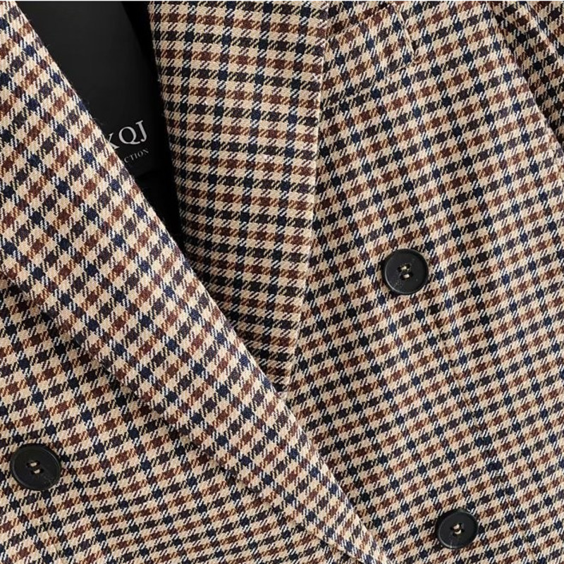 Dilusoo Autumn Women Plaid Blazers Jackets Work Office Lady Suit Slim Double Breasted Business Female Blazer Coat Talever Ladies