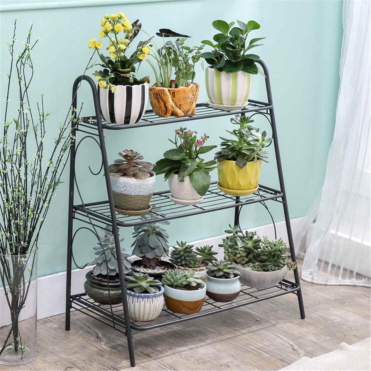 Soporte de planta de hierro de 3 capas, estante suculento, estante para balcón, jardín interior Simple, estante para maceta con flores, estante para libros, decoración del hogar