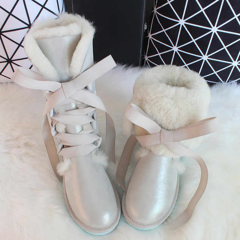 G&Zaco Luxury Sheepskin Snow Boots Australia Knee high Winter Natural Wool Boots Sheep Fur Boots Knee Bow Flat Women Long Boots