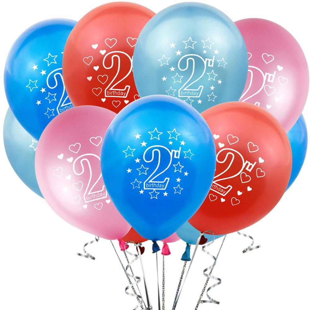10個12インチ番号2歳ミックス色のラテックスバルーンデジタルバルーン歳の誕生日パーティー結婚式の装飾おもちゃ