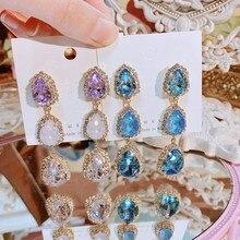 MENGJIQIAO – boucles D'oreilles goutte d'eau en cristal pour femmes, élégantes, coréennes, de luxe, à la mode, colorées, bijoux de fête
