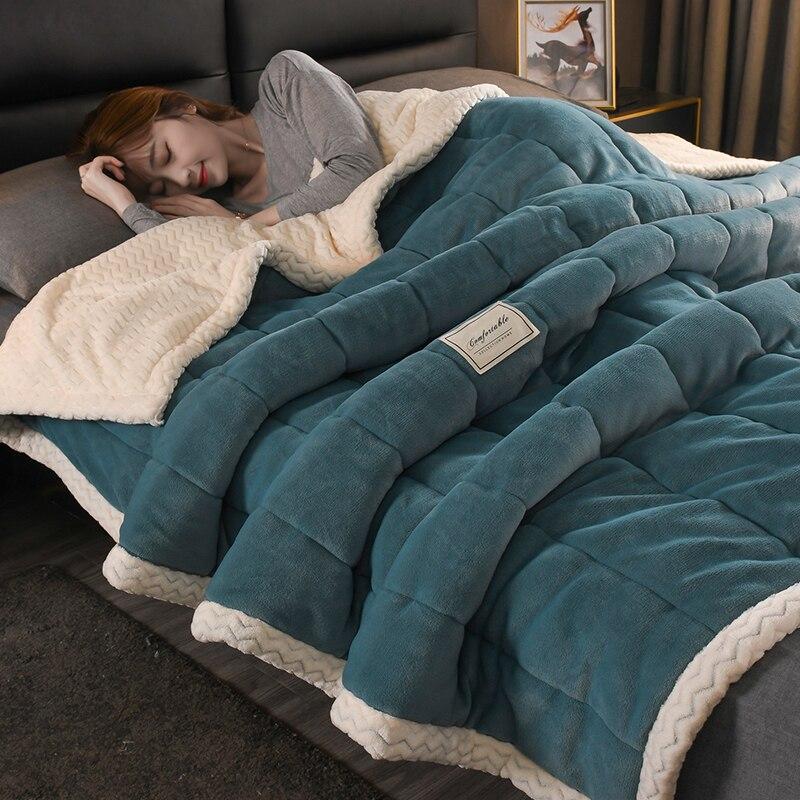 Autumn Winter Blanket Coral Fleece Single Double Nap Sofa Woolen Blanket Flannel Blanket Quilt Spring Autumn Towel Quilt