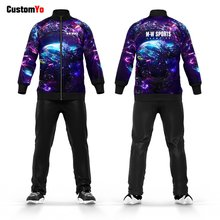 Custom Your Own Starry Sky Design Fitted Soccer Tracksuit Custom Team Sports Sweatsuit(China)
