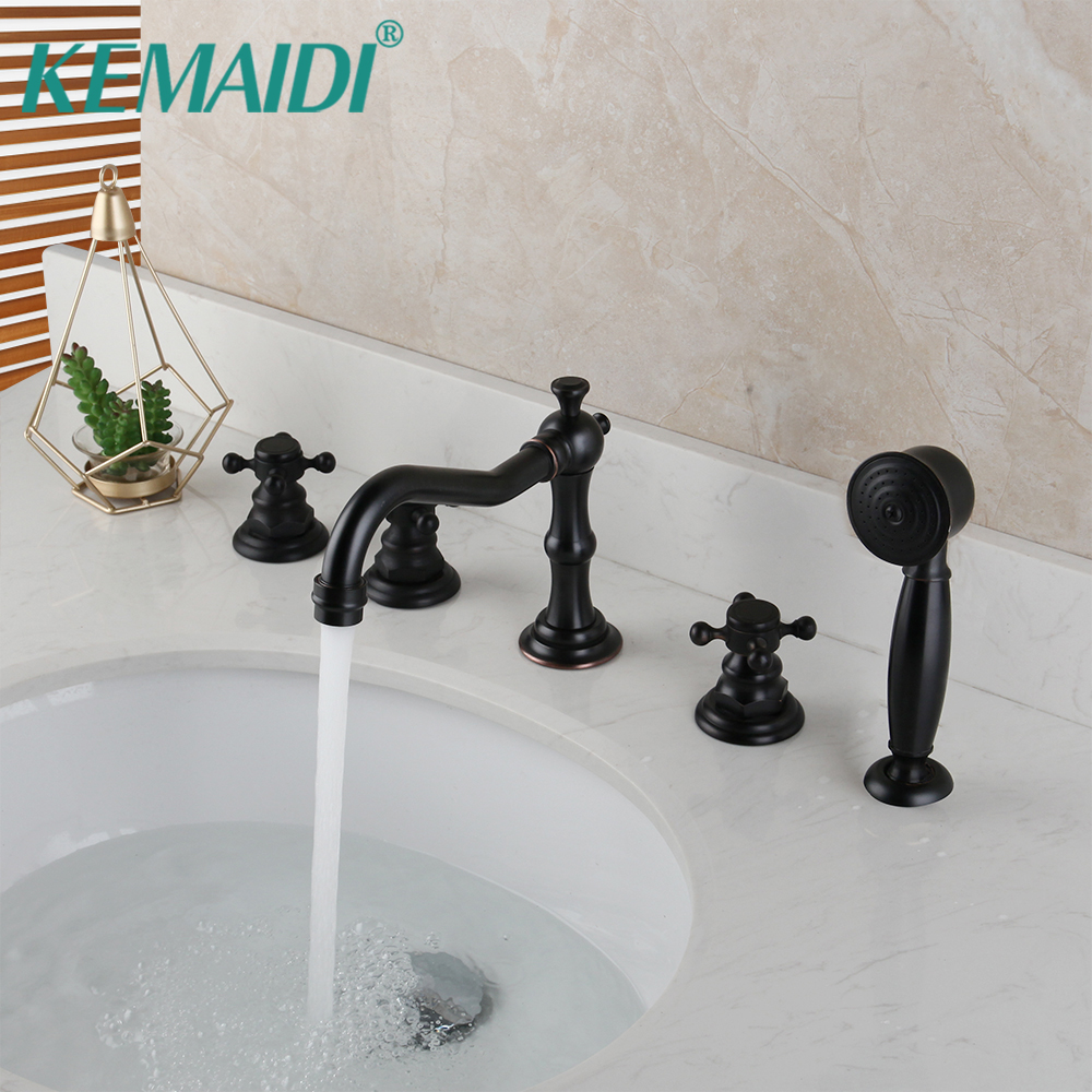 KEMAIDI Bathroom Mixer Solid Brass ORB Black 5 Pcs Bathtub Faucet Set Deck Mount Hand Sprayer Bathtub Mixer Faucet Shower Set