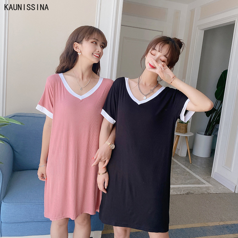 Women Nightgowns Modal Night Dress Soft Short Sleeve V-Neck Casual Home Dress Night Shirt Nighty Sleepwear Nightwear Sleepshirts