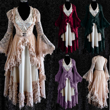2020 New Medieval Costume Vintage Lace Palace Long Gown 2 pcs set Princess sleeping Gown Cosplay Victorian Costume plus size