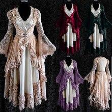 2020 yeni ortaçağ kostüm Vintage dantel saray uzun elbise 2 adet set prenses uyku elbisesi Cosplay victoria kostüm artı boyutu
