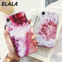ELALA Matte Marble Case For iPhone Candy Color Art Flower Patterned Silicone Cover 6 S 7 8 Plus X XR XS Max