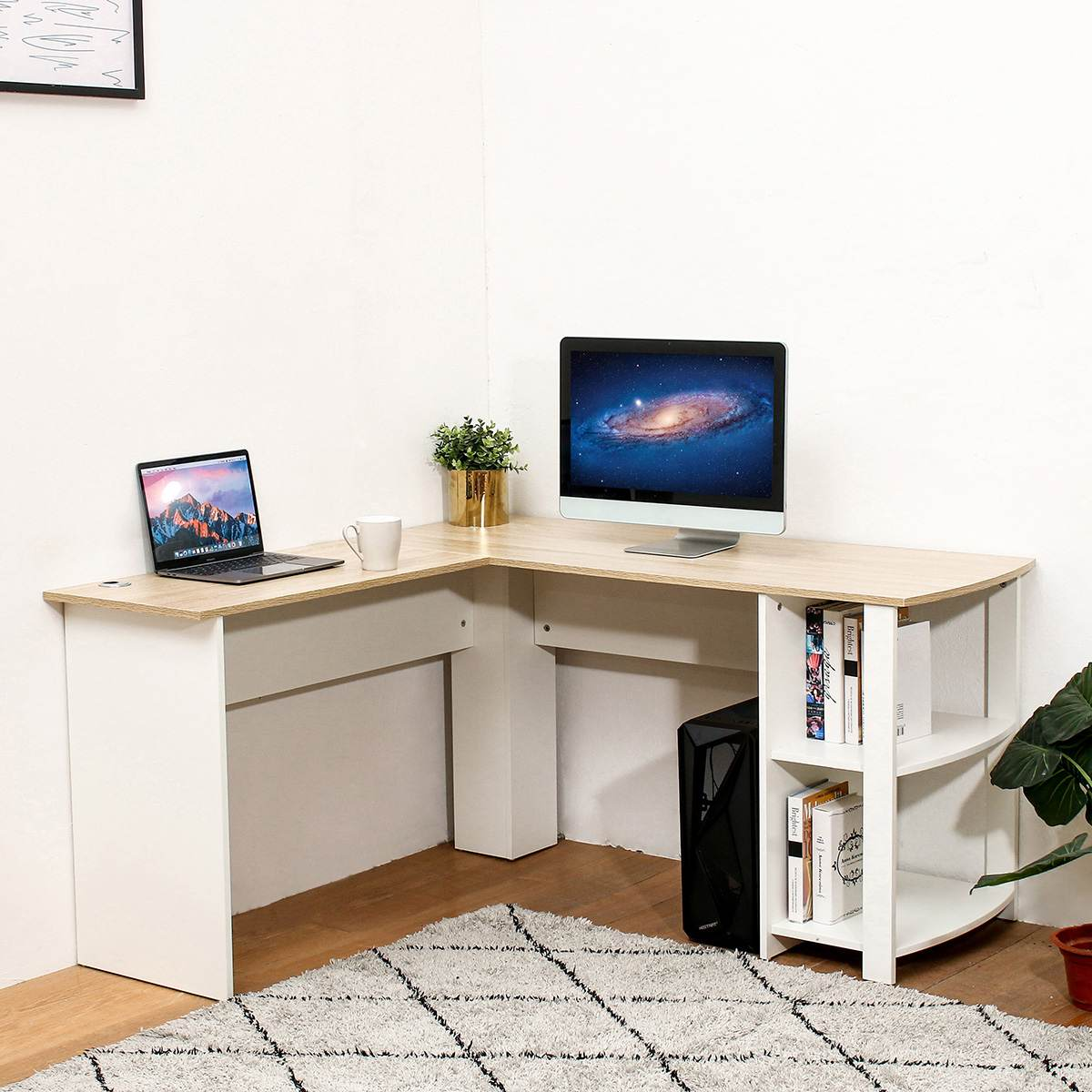 Wooden Office Computer Writing Desk Utility Home Gaming PC Furniture L-Shape Corner Study Computer Table With Book Shelf