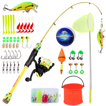 Kids Fishing Rod And Reel Set Full Tackle Kit
