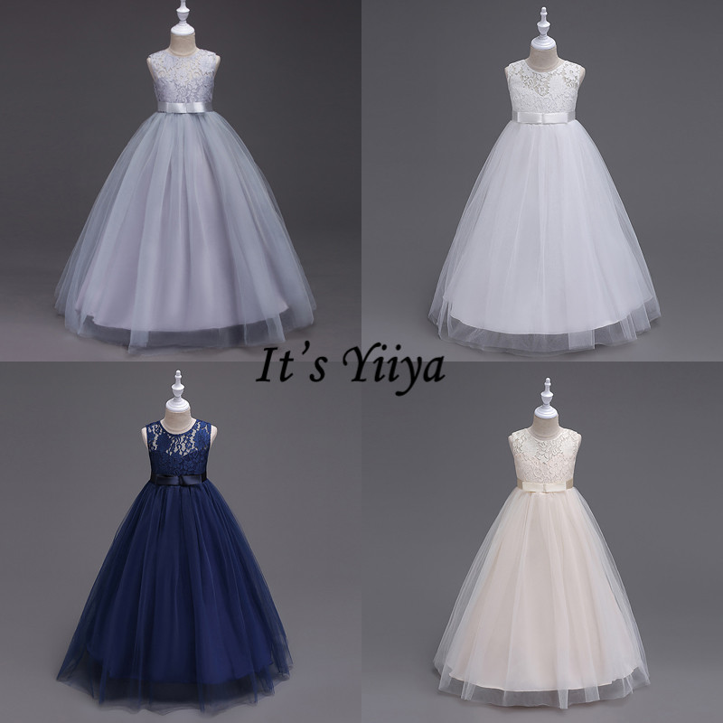 It's YiiYa   Flower     Girl     Dress   Elegant O-neck Lace Bow Kid Party Gowns Wedding Gray White Champagne Long   Dresses   For   Girls   9999