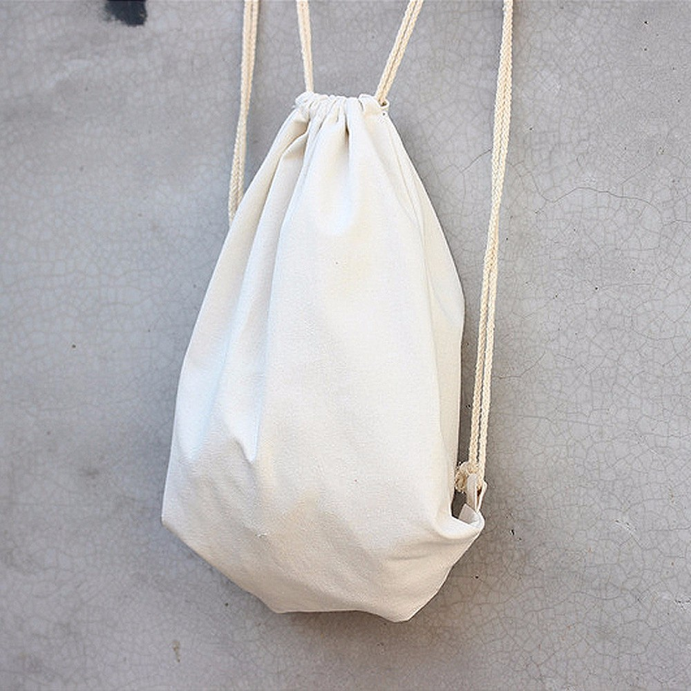 Women Solid White Drawstring Backpack Large Capacity Shopping Bag Lady Travel Sports Bags Simple Fashion String Pouch Schoolbag