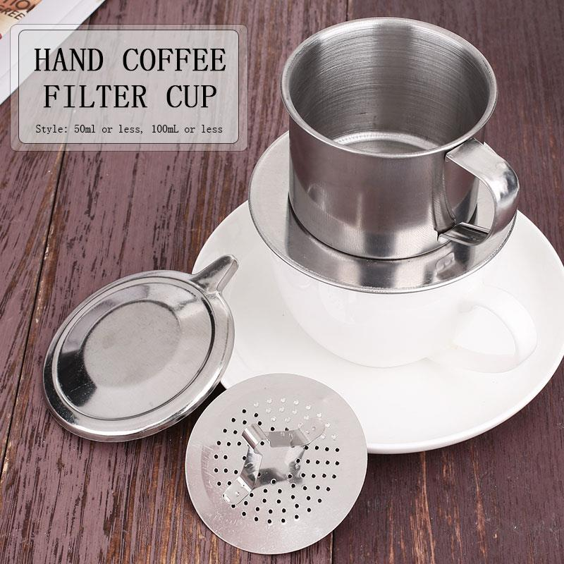 <font><b>Vietnam</b></font> Mug with Filter DIY Stainless Steel Rotary Tool <font><b>Coffee</b></font> Filter Cup Durable <font><b>Maker</b></font> <font><b>Coffee</b></font> Filter Drip Portable image