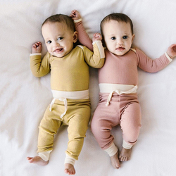 2 pcs Newborn Baby Girl Boy Clothes Sets Baby Pajamas Ribbed Cotton Long Sleeve Rompers + Pants Autumn Infant Clothing Outfits