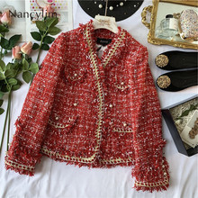 High Quality Woolen Coat Women Warm Small Fragrance Style Rough Tweed Suit Jacket Lady Short Red Mujer 2019