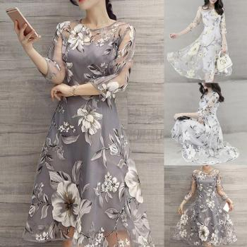 Midi Dress Women O Neck 3/4 Mesh Sleeve Floral Print Large Swing Double Layer Midi Dress Elegant Lady Dress Sexy Women Summer Dr цена 2017