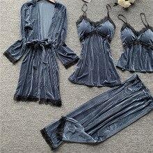 4 Pieces Women Pajamas Sets Golden Velvet Sleepwear Nightwea