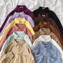 Yeeloca primavera menina doze cores design camisa senhora do escritório sólida lapela blousers coreano versátil manga longa topo