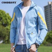 Бренд COODRONY легкий и тонкий Солнце-защитная одежда бомбардировщик куртка мужчины весна лето свободного покроя Мужские пальто с капюшоном ветровка P8002