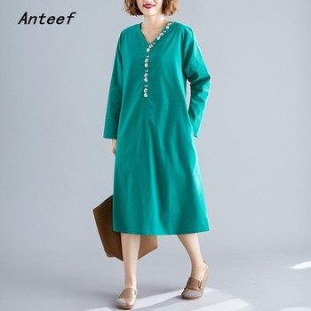 long sleeve cotton linen plus size vintage floral embroidery women casual loose autumn elegant dress clothes 2019 ladies dresses