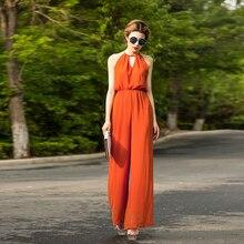Jumpsuit for Women 2017 Summer Party Overalls Rompers Chiffon Fashion Elegant Orange Color Full Length Bodysuit S M L XL