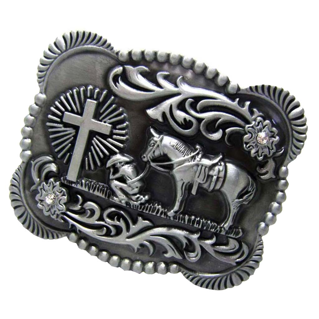 Retro Antique Silver Western Cowboy Prayer Cross Horse Scroll Belt Buckle